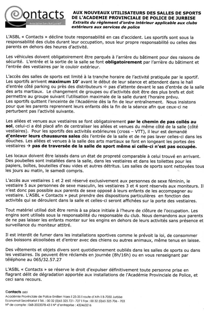 Règlement de l'ASBL Contacts